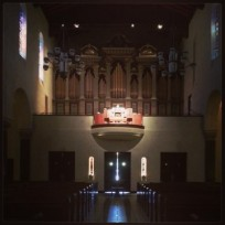 Organist playing at St. Mary's Chapel